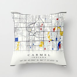 Carmel Indiana Map with GPS location Throw Pillow