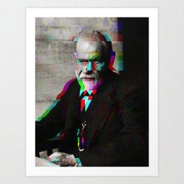 Freud Glitch Love Art Print