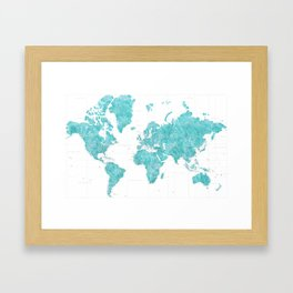 Highly detailed watercolor world map in aquamarine Framed Art Print