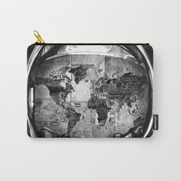 astronaut world map black and white 2 Carry-All Pouch