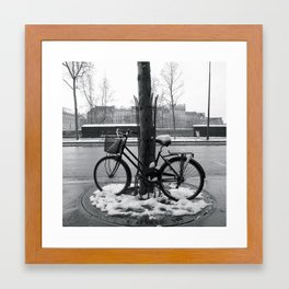 Snowy bike in Paris Framed Art Print