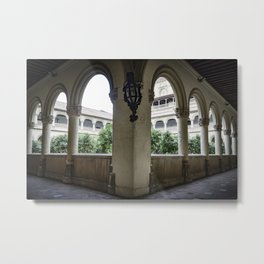 Spanish Cloister with Orange Trees Metal Print