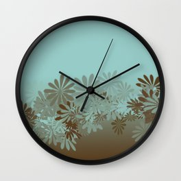 Teal and Tan Azalea pattern Wall Clock