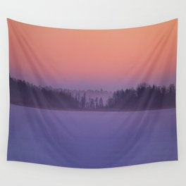 Foggy Winter Evening With Beautiful Sunset Colors In The Sky #decor #buyart #society6 Wall Tapestry