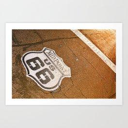 Midpoint in the historic Route 66. Art Print