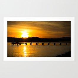 Belmont, Green Point, Australia Jetty at Sunset (Landscape) Art Print
