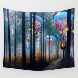 Forest of Super Electric Jellyfish Worlds Wall Tapestry