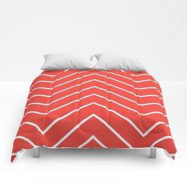 Yacht style design. Red chevron. Comforters