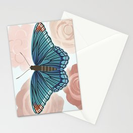 Blue Butterfly and Roses Stationery Cards