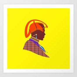 massai warrior african art kenyan man graphic design Art Print
