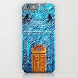 Blue Tile Mosaic Mosque Portrait - Sultan Ahmed Mosque by Jéanpaul Ferro iPhone Case
