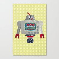 50s Canvas Prints featuring pete 50s retro robot by blossyfloss