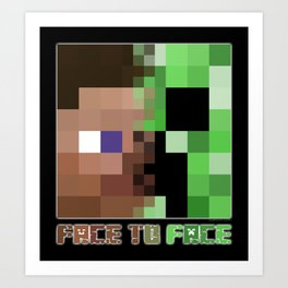 Steve vs. Creeper Art Print