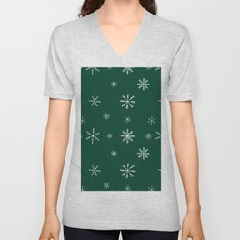 Christmas season forest green white snowflakes pattern Unisex V-Neck
