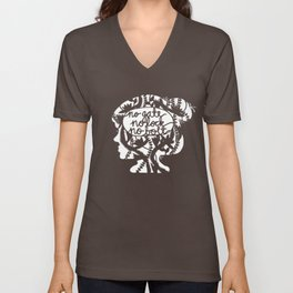 No Gate, No Lock, No Bolt in Black and White Unisex V-Neck