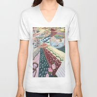 quilt V-neck T-shirts featuring Quilt Design by Sara Hazaveh