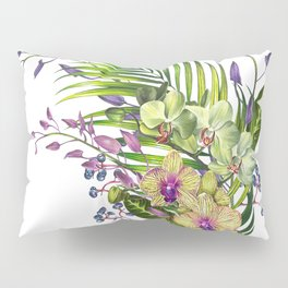 Bouquet, Orchid, Bud, Leaf Clipart, watercolor, handpainted, floral, flower, design, style, troical Pillow Sham