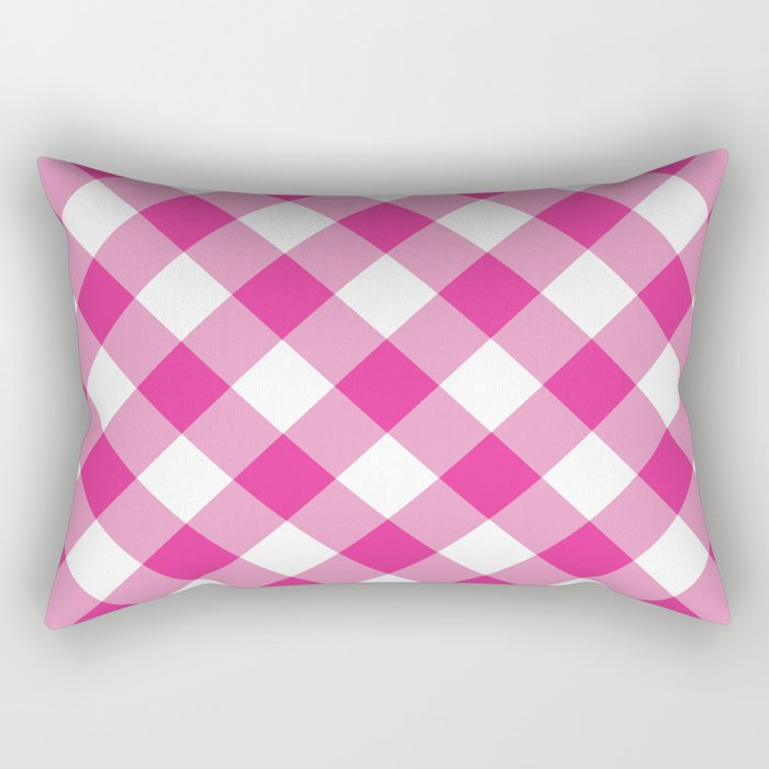 Gingham - Pink Rectangular Pillow