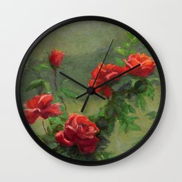 Red Roses in Soft Sunlight Wall Clock