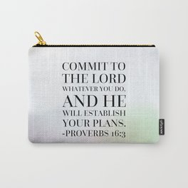 Proverbs 16:3 Bible Quote Carry-All Pouch