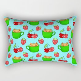 Cute happy playful funny Kawaii baby kittens sitting in little green espresso coffee cups, sweet ripe yummy red summer cherries and strawberries fruity pastel blue design. Rectangular Pillow