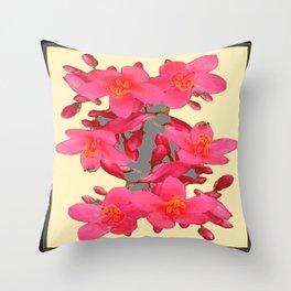 BLACK-PINK FLOWER BLOSSOMS YELLOW SPRING ART Throw Pillow