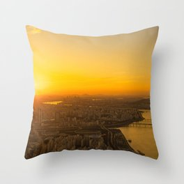 Sunset in Seoul Throw Pillow