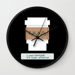 Caffeine is Super Effective Wall Clock