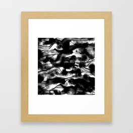 Moody Black Fog All Over Painting Texture with Streaky Light Leaks. Trendy Abstract Dark Mood Framed Art Print