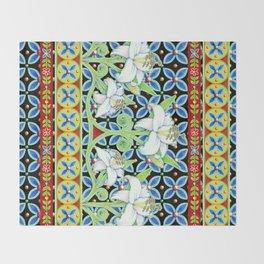 Elizabethan Folkloric Lily Throw Blanket