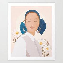 Minimal Art Girl with Flowers Art Print