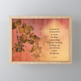 Serenity Prayer Quince and Fence One Framed Mini Art Print