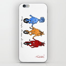 unite! and ride unicycles with unicorns with unibrows! iPhone Skin