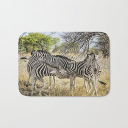 Zebras - Some Chilling, Some Not Bath Mat