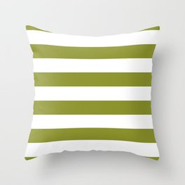 Dark Pastel Green Pepper Stem and White Wide Horizontal Cabana Tent Stripe Throw Pillow
