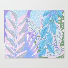 Modern Jungle Plants - Blue, Purple Canvas Print