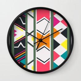 Ndebele pink and green Wall Clock