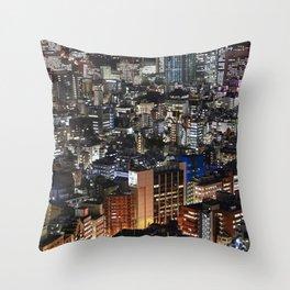 Tokyo Buildings at Night Throw Pillow