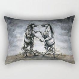 Fighting Horses Rectangular Pillow