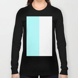 White and Celeste Cyan Vertical Halves Long Sleeve T-shirt