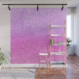 Modern girly purple pink glitter ombre Wall Mural