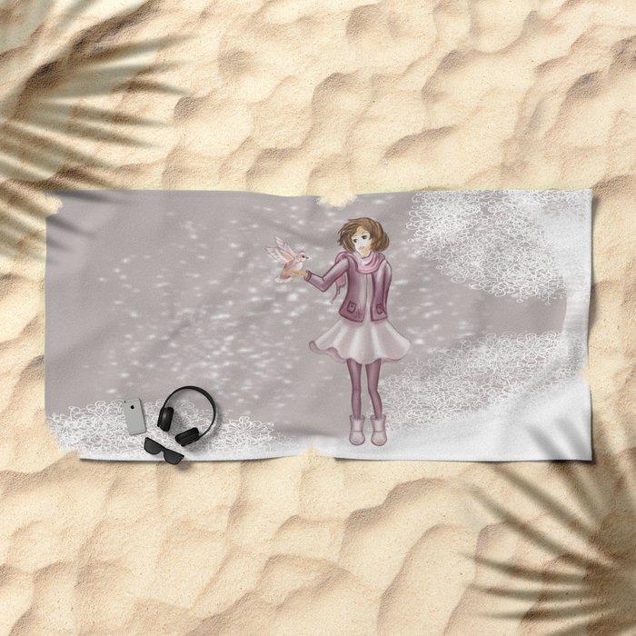 Snow Girl Beach Towel