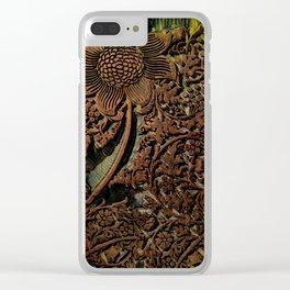 Antique Arts & Crafts era Wood Carving, wood block  Clear iPhone Case