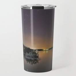 The Big star Sirius the Costelation of Orion and Taurus  reflected at the lake Travel Mug