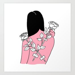 Roses on her back Art Print