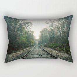 Creepy foggy railroad Rectangular Pillow