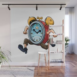 Clock Man Running Wall Mural