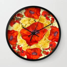 ORANGE POPPY FLOWERS GARDEN YELLOW ROSES ART Wall Clock