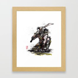 Dragonborn of Skyrim Japanese sumie style Framed Art Print