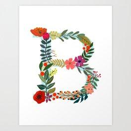 B Monogram Letter Abecedary Art Print